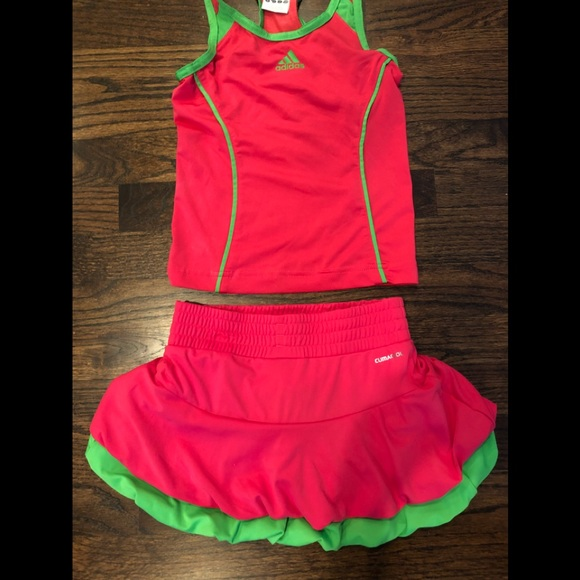 277b5ed0a5490 adidas Matching Sets | Girls Hot Pink And Green Tennis Outfit | Poshmark